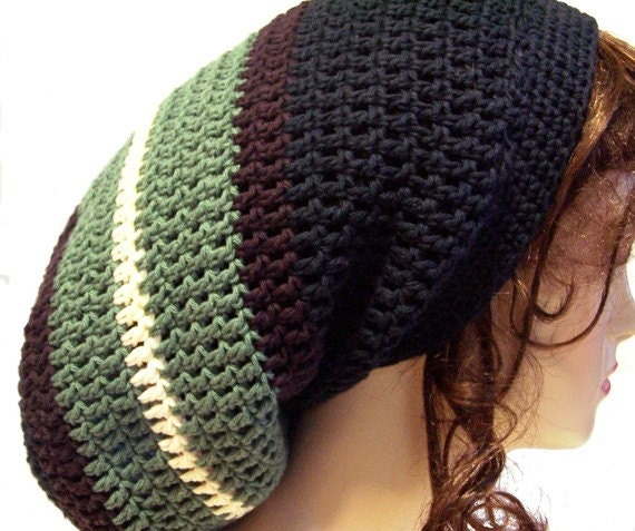 Crocheting Locs : Crochet Dreads Tam Hippie Hat Festival Wear Style Slouchy Beanie - You ...