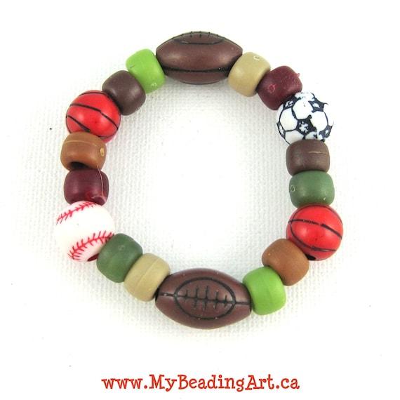 sports jewelry boys bracelets jewelry by mybeadingart