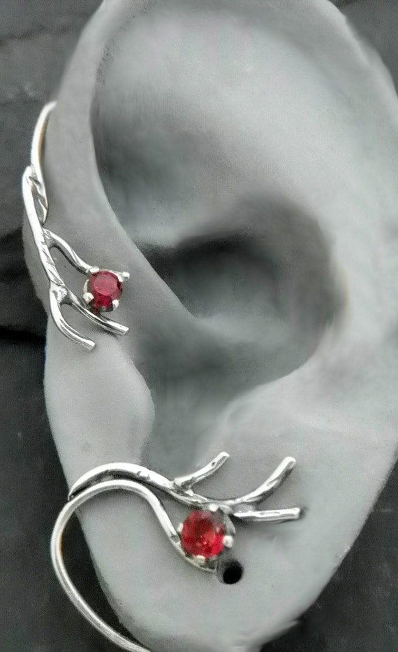 Sterling Berry And Branch Ear Wrap Winter Silver Ear Cuff