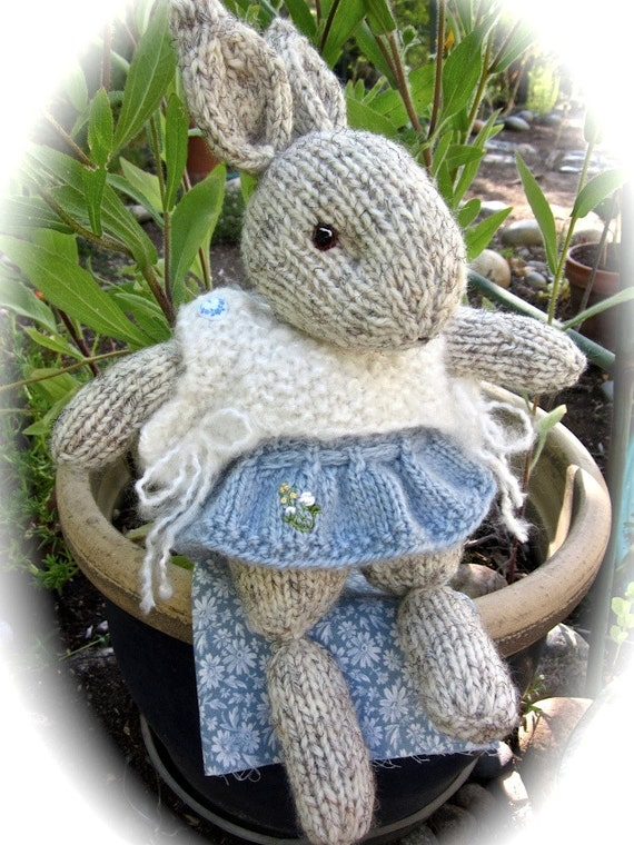Hand Knit Bunny Doll/ Holly/ Playful & Happy, Spreading Cheer