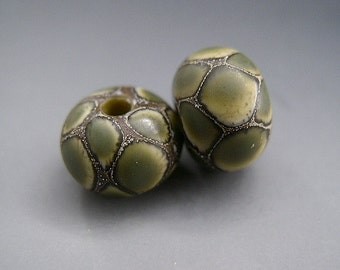 Naos Glass Dragon Python Snake Scales Pair Made To Order Handmade Lampwork Beads SRA Olive Green Cream Fine Silver