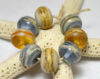 Pacific Coast Organic Rounds - Mermaid Glass Handmade Lampwork Beads