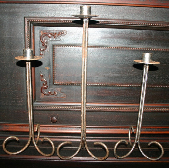 Vintage Set of 3 Large Silver Iron Candle Holders