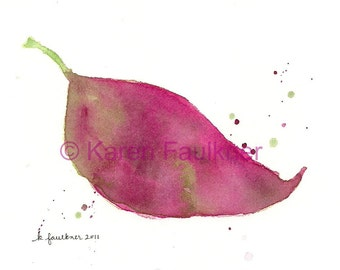 """Giclee print of a watercolor leaf painting: """"Autumn Leaf"""""""