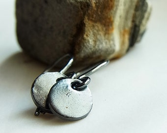 Fair Trade Pure Thai Black Silver Dangle Ear-rings // Hand-crafted // Unique // Minimalist // Rustic (One Pair)