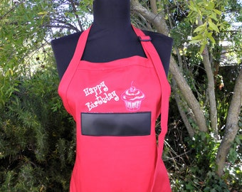 Happy Birthday Chalkboard APRON Embroidered for home, kitchen or grill BBQ Barbeque Barbecue 34 inches  - Ready to Ship