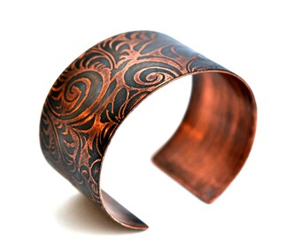 Handmade Floral and Leaves Copper Cuff Bracelet Etched