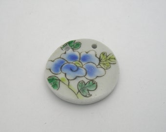 Blue Porcelain Flat Round Flower 28mm Focal Component-R