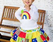 Patchwork Twirl Skirt and Personalized Tshirt Girls Rainbow Frog 12m 18m 2 3 4 5 6 2T 3T 4T 5T