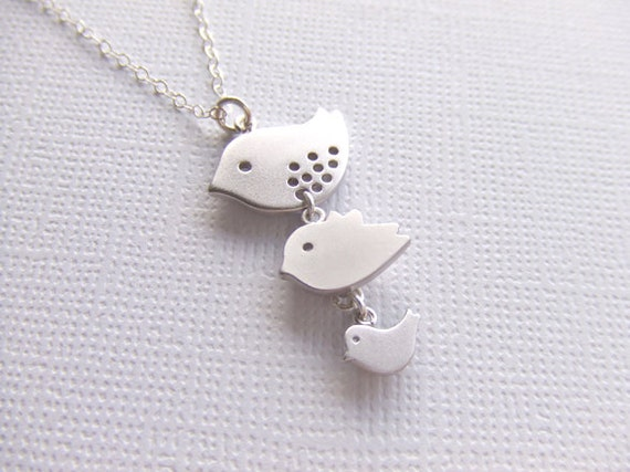 Three Birds Silver Jewelry Necklace - Mother / Daughter / Sisters - Sterling Silver Jewelry