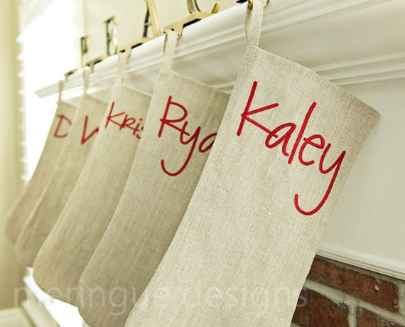 CUSTOM ORDER for Julia. Personalized Christmas Stocking Embroidered in Classic Beige Linen