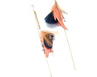 Navy and Shrimp Earrings. Gold Delicate Earrings. Gold Dangle Feather Earrings. Feather Jewelry. Coral Feather Earrings.