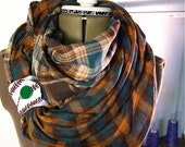 reversible Infinity Scarf --multi season circle scarf with button tab closure, Teal And Brown sassy lasse.