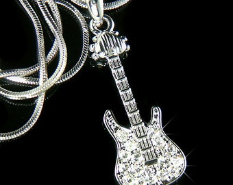Dainty Swarovski Crystal Rock Music Musical ELECTRIC GUITAR Pendant Necklace Xmas