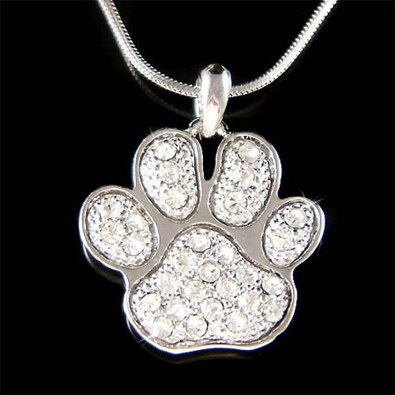Swarovski Crystal Dog KITTY CAT Kitten Pawprint Paw Print Pendant Necklace