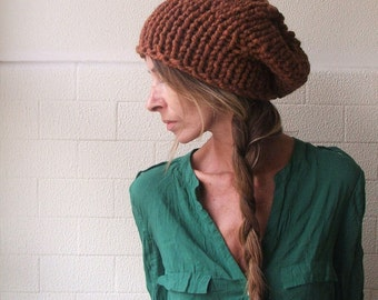 brown hat / rusty brown chunkier sloucht hat, / Vegan Friendly hat