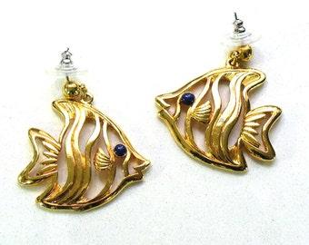 Goldtone Fish Earrings - Big Earrings - Angelfish Earrings - Vintage Avon Earrings - V17
