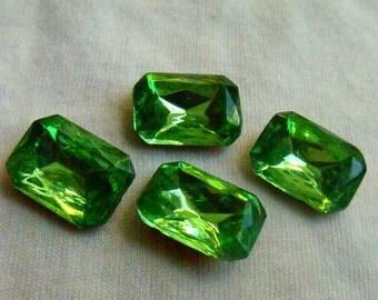 Peridot Green 18X13mm Octagon Glass Gems Foiled 4 Pcs