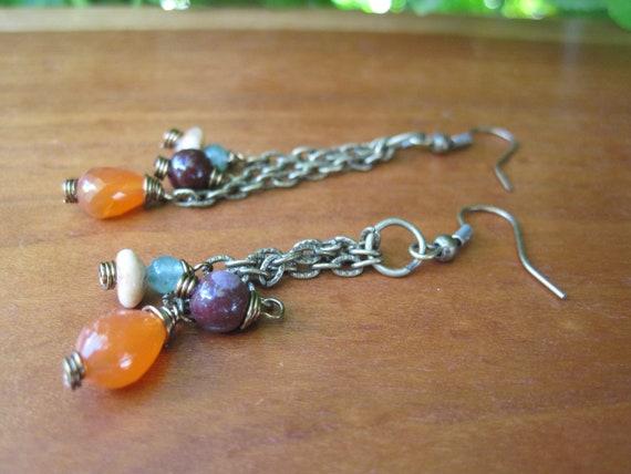 RESERVED Stone Earrings - Brass and Gemstones - Orange - Plume - Beige -Green - Chain - Dangle