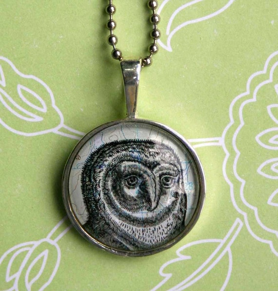Owl Necklace in Silver - Glass Pendant Owl on Map Necklace