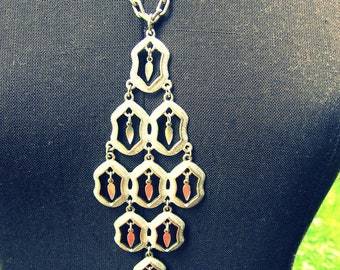 Vintage  bohemian hippie silver dangle necklace