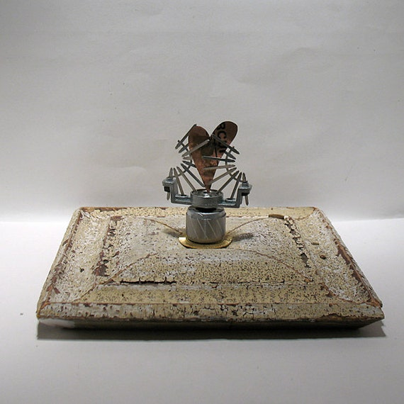 Reserved for M. Heart Art - You Spin Me Around - Mixed Media Assemblage - Wood Collage - Romantic Keepsake - Table Top Sculpture