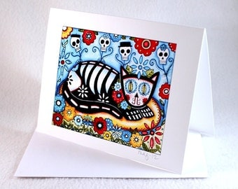 Blank Cat Note Card, Day of the Dead Art Notecard, Blank Greeting Card, All Occasion Card, Original Art Print