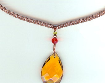 1950s Amber Chandelier Crystal Necklace