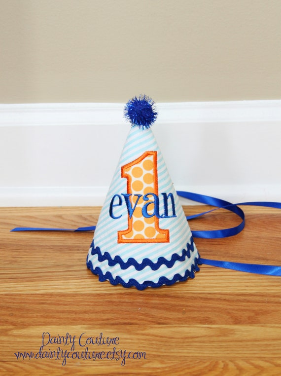 Boys First Birthday Party Hat - Aqua and white stripes with orange dots and royal blue accents - Handmade Birthday Hat
