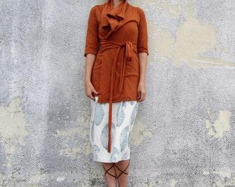 ORGANIC Cocoon Belted Tunic Jacket - ( NC grown organic cotton knit ) - organic hemp jacket