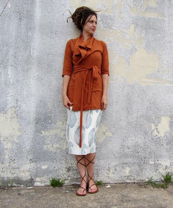 ORGANIC Belted Cocoon Tunic Jacket - ( NC grown organic cotton knit ) - organic hemp jacket