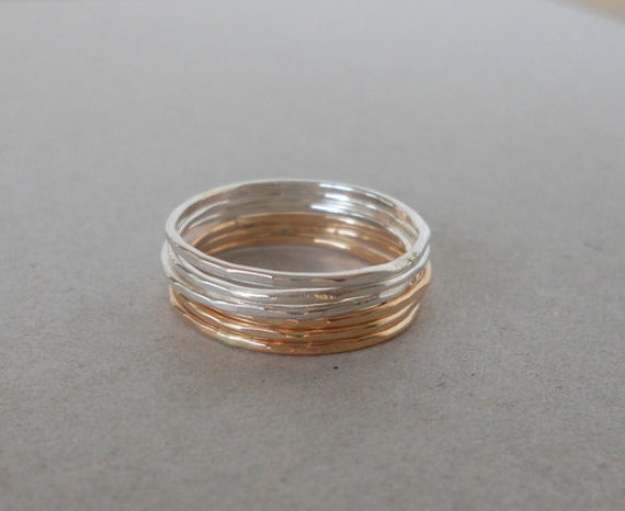 Gold Silver Stacking Rings - Stackable Rings - Silver Rings - Gold Rings - gift for her