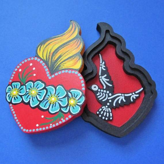 Mexican Boxing Art Heart Box Mexican Folk Art