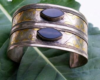 Vintage Turkman Silver Tribal Cuff, Onyx