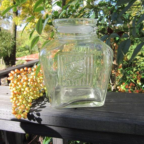 Vintage Glass Storage Jar/ Canister - Leaf Design
