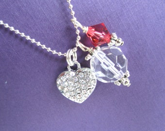 Necklace Little Bit of Love rhinestone puffy heart and swarovski crystal girls kids tween teen jewelry