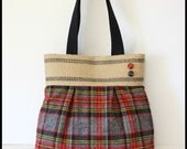 Red and Gray Plaid Handbag / Purse with Jute Webbing Band