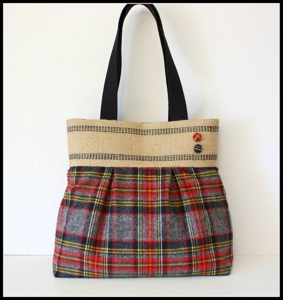 Red and Gray Plaid Handbag / Purse with Jute Webbing Band
