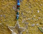 Swarovski beaded glass suncatcher  with star prism (C) FREE shipping