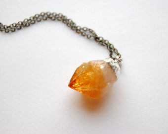Raw Citrine Crystal Necklace - Small - Silver Plated - FREE US Shipping