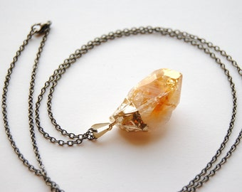 SALE - Raw Citrine Crystal Necklace - Medium - Gold Plated - FREE US Shipping