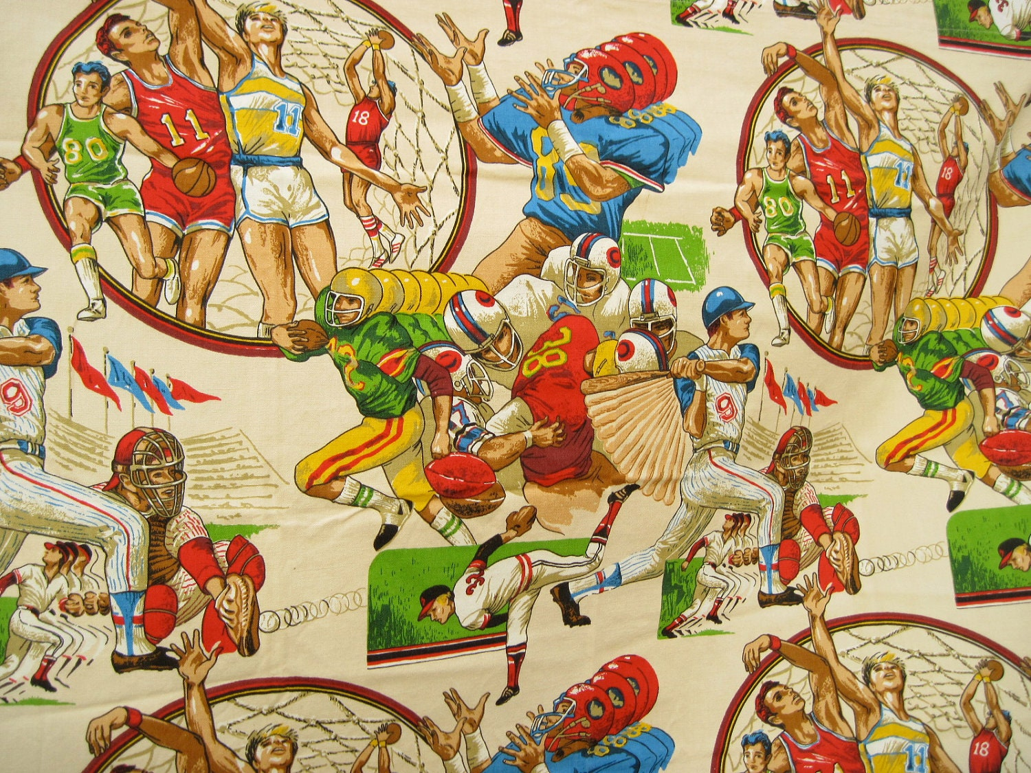 Vintage Sports Fabric Baseball Football Basketball Vintage