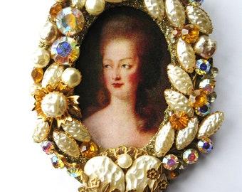 Marie Antoinette Gone for Baroque Pearls Rhinestones Vintage Jewel Framed Original One of a Kind Wall Hanging