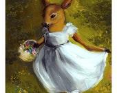 "children's room, decor, Deer in Forest- ""Dolly"" - Green, lush, whimsical large print"