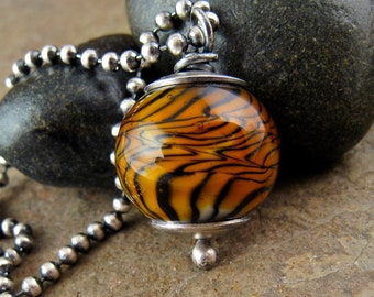 Men's Necklace with Lampwork Bead Sterling Silver Necklace for Men, Heavy Chain Glass Bead Tiger Bead Mens Gift for Him Mens Silver Necklace