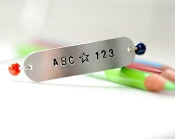 Teacher Bracelet, Teacher Gift, Stamped Bracelet, Wire Bangle Bracelet, Silver Bangle, School, Word Jewelry, Back to School - ABC 123