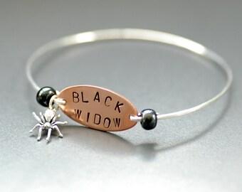 Spider Bracelet, Halloween Jewelry, Black Widow Spider, Bangle Bracelet, Silver Bangle, Creepy Jewelry, Word Jewelry - Black Widow