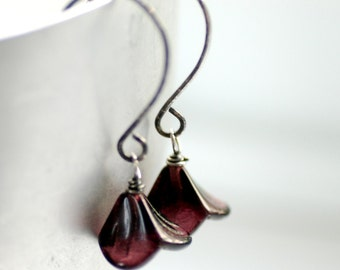 Purple Earrings, Plum Earrings, Flower Earrings, Simple Earrings, Botanical, Nature Jewelry, Sterling Silver - Posies
