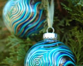 2 Peacock Feather Ornaments - Hand Painted Glass Christmas Ornaments - Peacock Feathers with Gold or Silver Accents