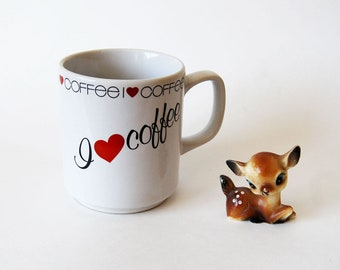 vintage 1980s novelty HEART mug coffee cup